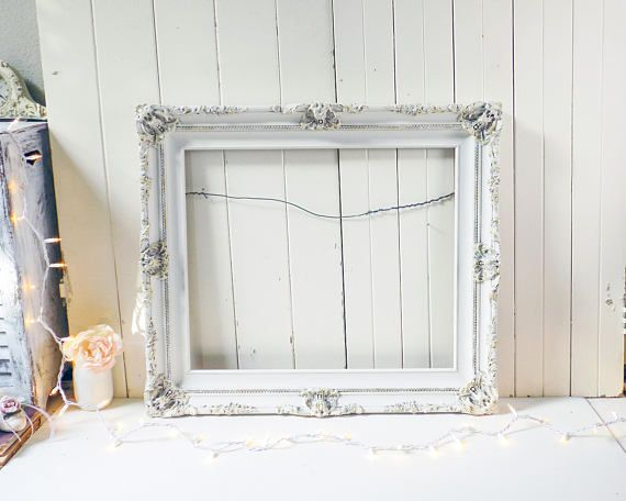 Rustic Ornate Frame, Shabby Chic Off White Picture Frame, 20 x 24 ...