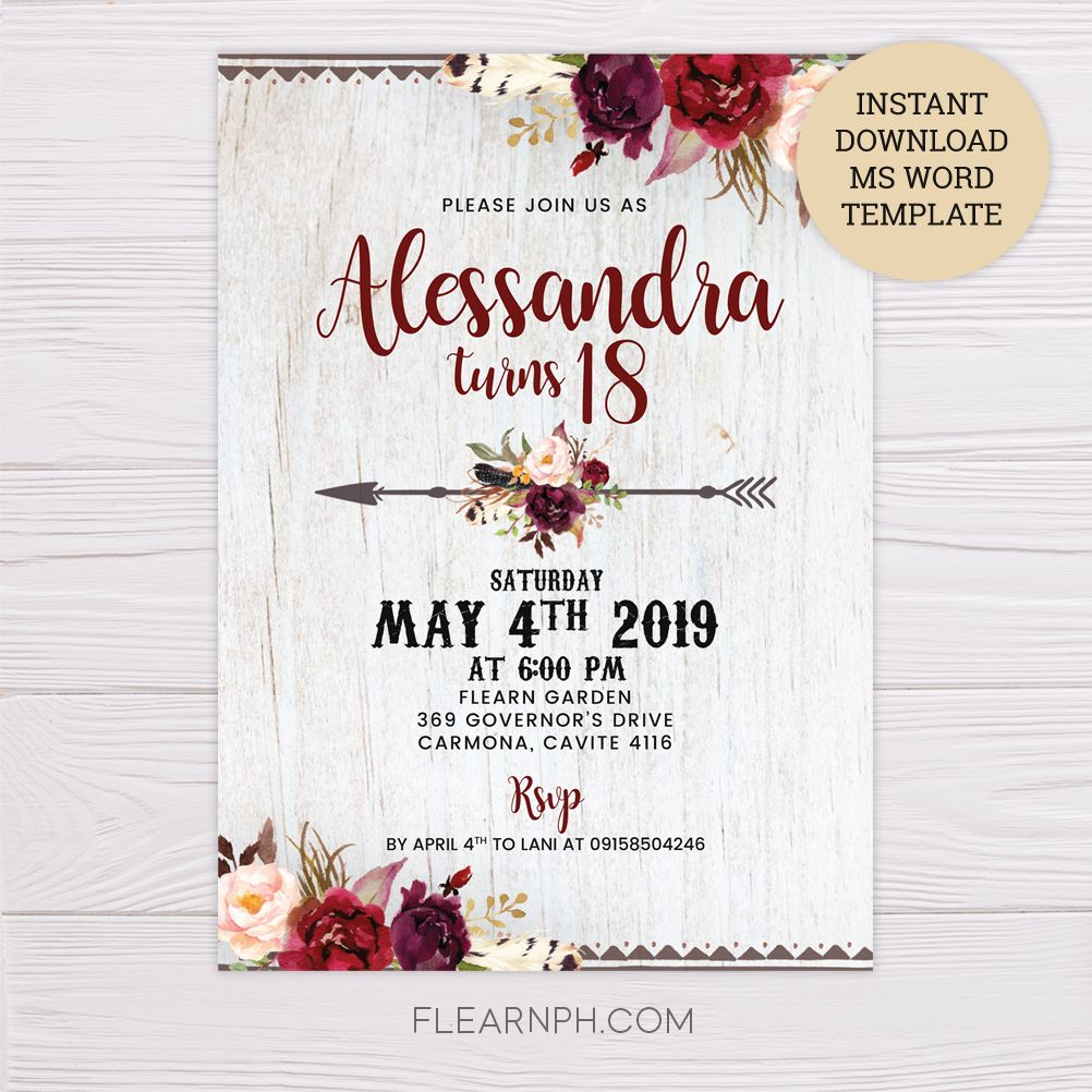 Maroon Floral Bohemian Invitation Template Bohemian Birthday