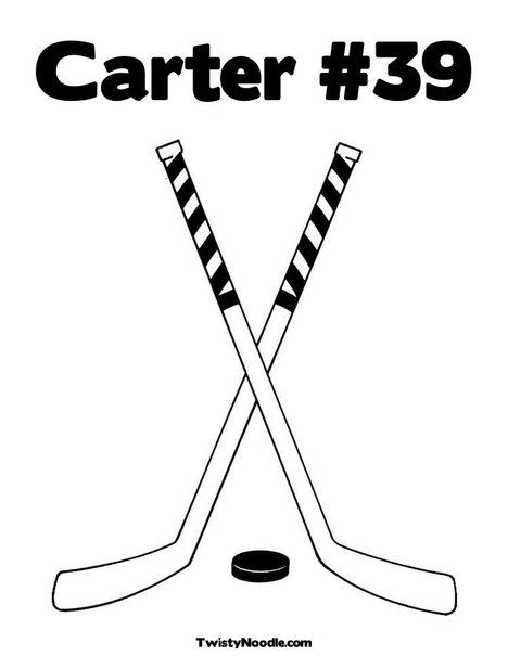 Carter 39 Coloring Page Hockey Stick Hockey Kids Hockey