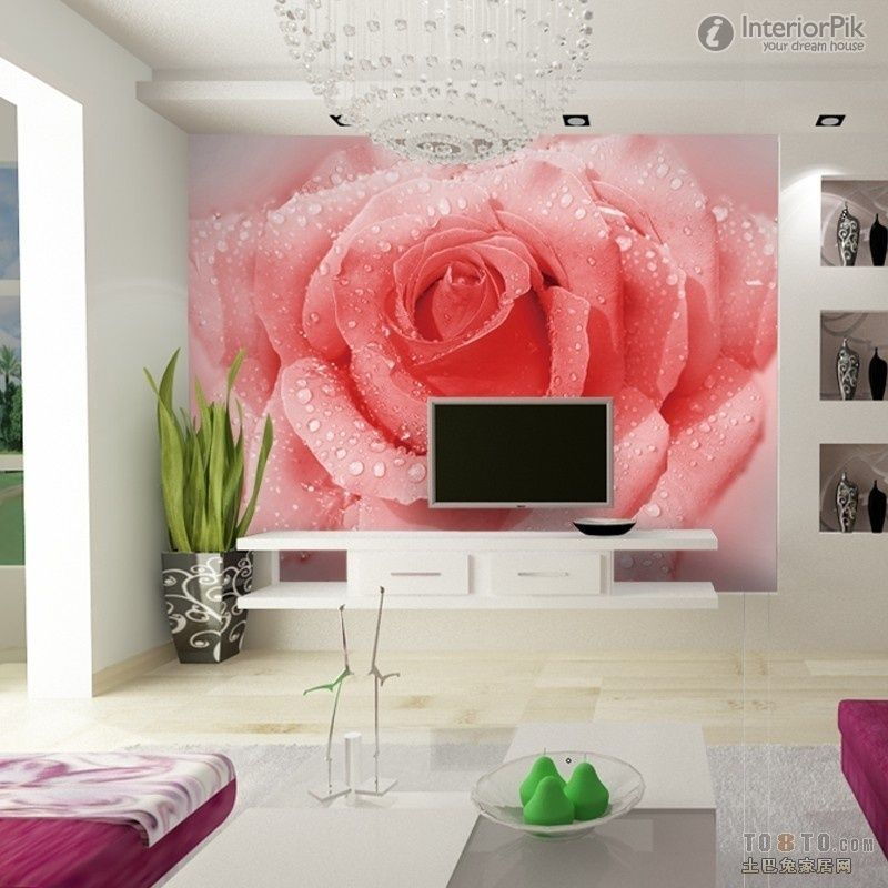 living room inspiring idea with wall stickers bamboo decoration ...