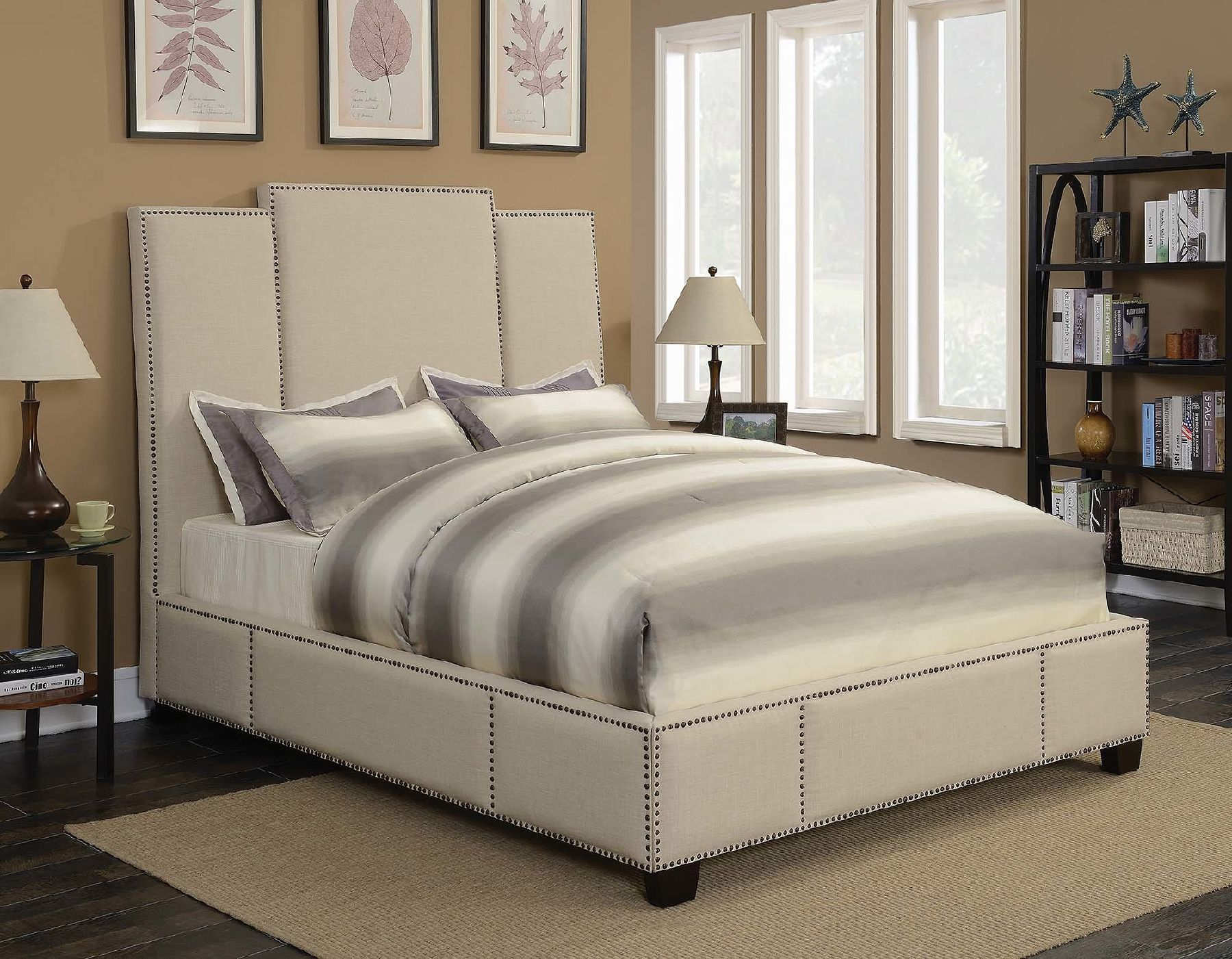 Lawndale Beige Queen Size Bed in 2020 Upholstered beds