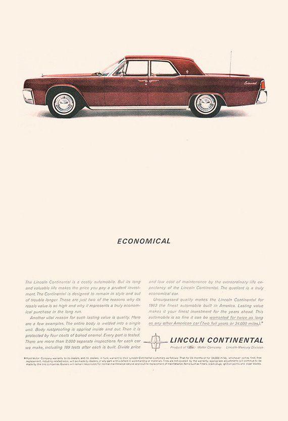 Lincoln Continental Car Ad Classic Car Poster Garage Wall Art