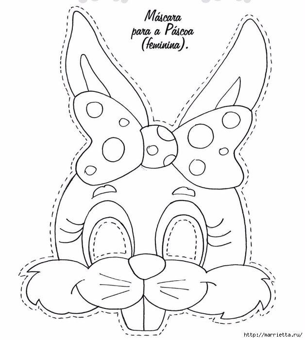 Máscaras conejos de fiestas para niños (5) (628x700, 167Kb) | Masks ...