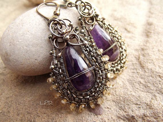 Wire Wrapped Dangle Earrings In Sterling by LovePotionDesign, €127.00