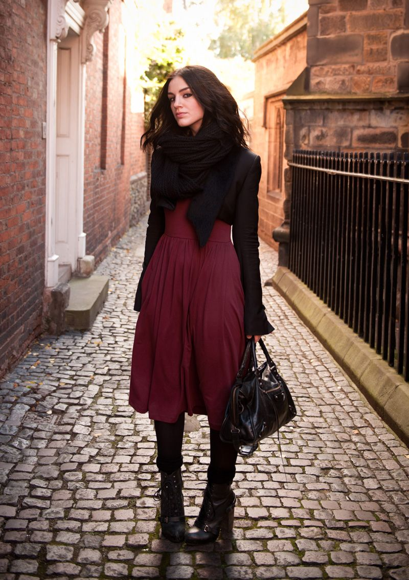 Burgundy dress with a black jacket and a nice warm scarft for the fall!