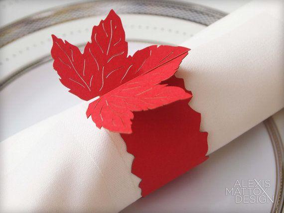 50 maple leaf paper napkin rings holders for wedding by. Black Bedroom Furniture Sets. Home Design Ideas