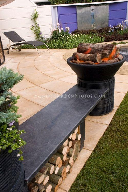firepit, planter, bench combo. dig it!   Backyard ...