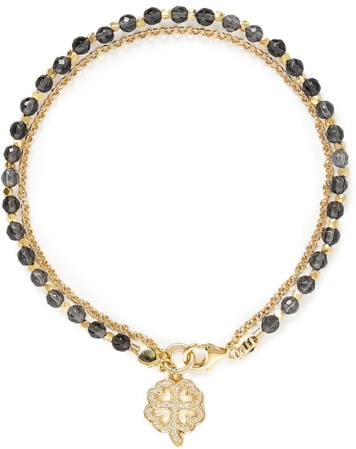 77bdc48447 Astley Clarke 'Four Leaf Clover' 18k gold smoky quartz friendship bracelet  - Luck & Prosperity on shopstyle.com