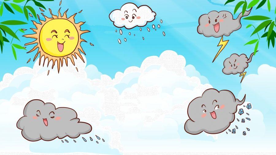 مرسومة باليد سماء زرقاء غيوم بيضاء توقعات الطقس خلفية التوضيح White Clouds Blue Sky Background How To Draw Hands