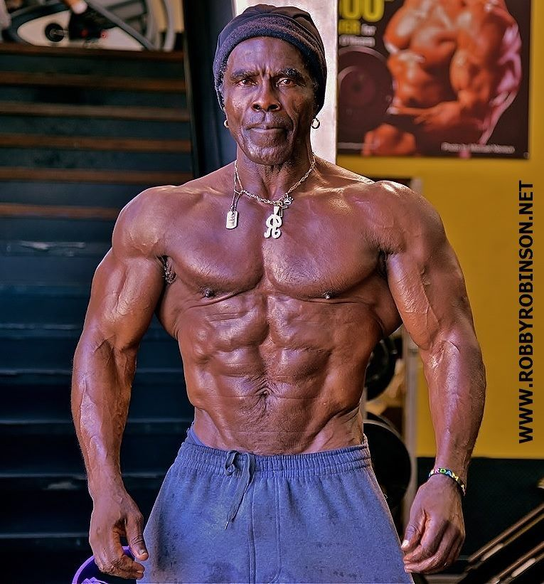 """New Gym Muscle Bodybuilding Black Leather Fitness Lifting: Lifting Reverses Age. Robby Robinson, Aka """"The Black"""