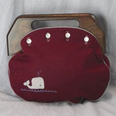 Wine Bermuda Bag with Embroidered Whale ~ Preppy