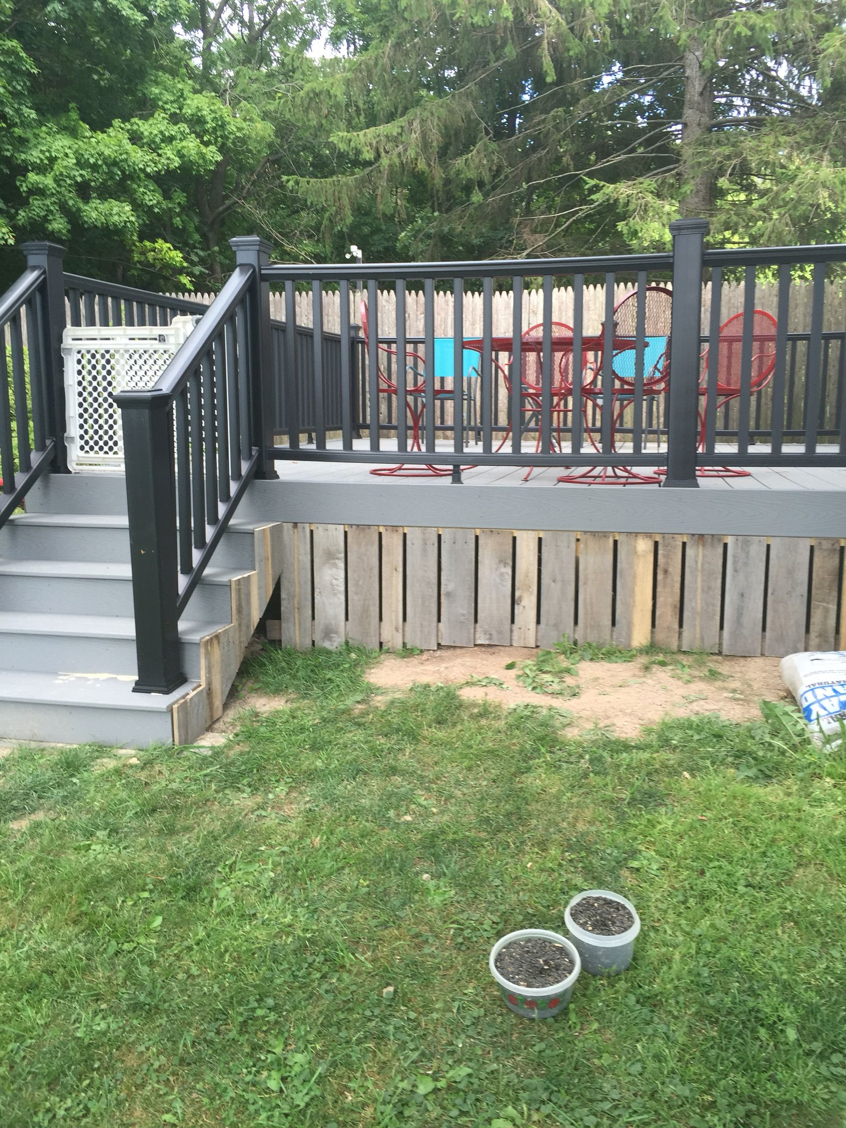 Pallet Deck Skirting Back Yard In 2019 Pallet Porch