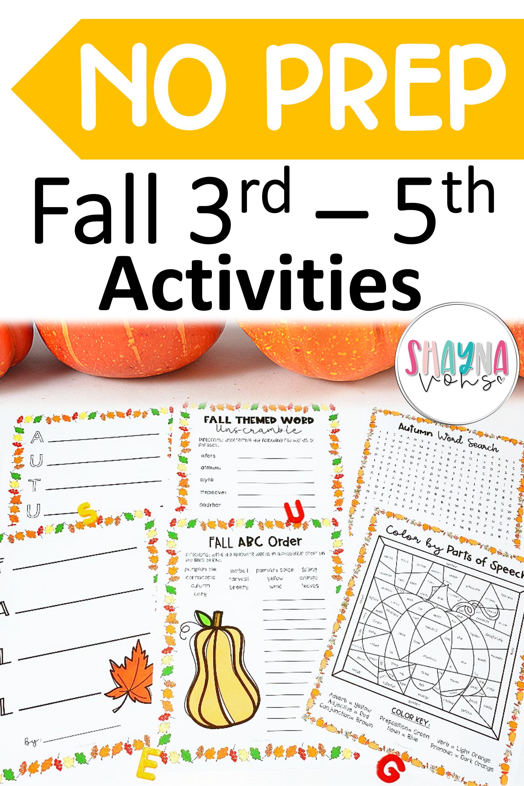 No Prep Fall Activities 3rd 5th
