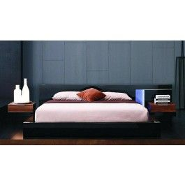 Alaska Night Modern Black Lacquer Bed & 2 Nightstands | bedroom ...