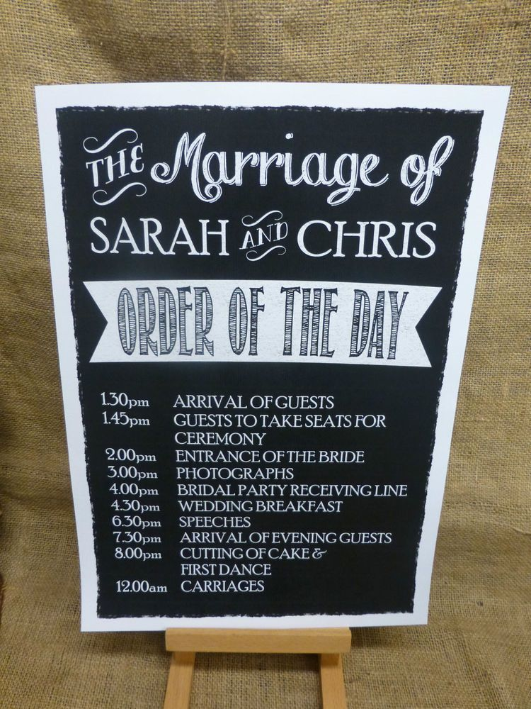 Personalised A3 Wedding Order Of The Day Sign Vintage