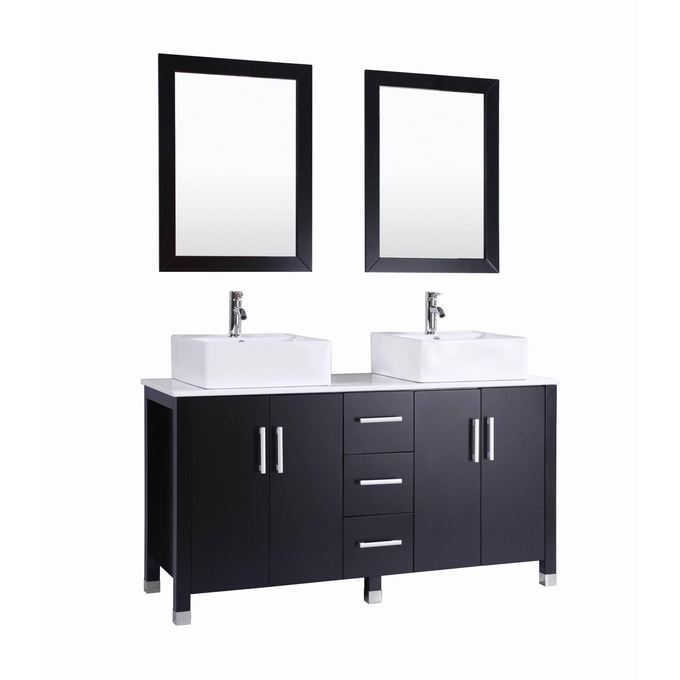 60 inch Belvedere Modern Espresso (Brown) Double Vessel Sink Bathroom Vanity (Espresso), Size Double Vanities