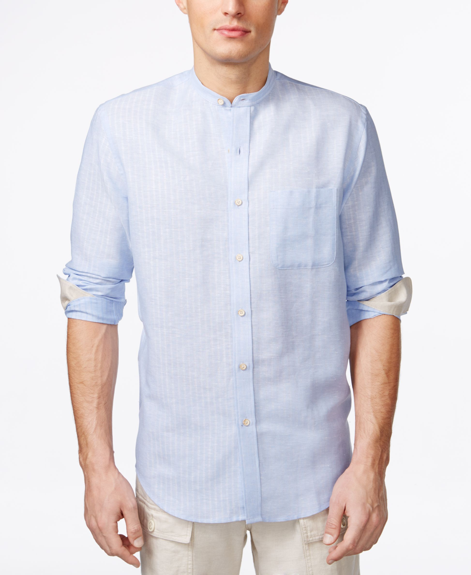 Tasso Elba Island Banded Collar Textured Striped Shirt