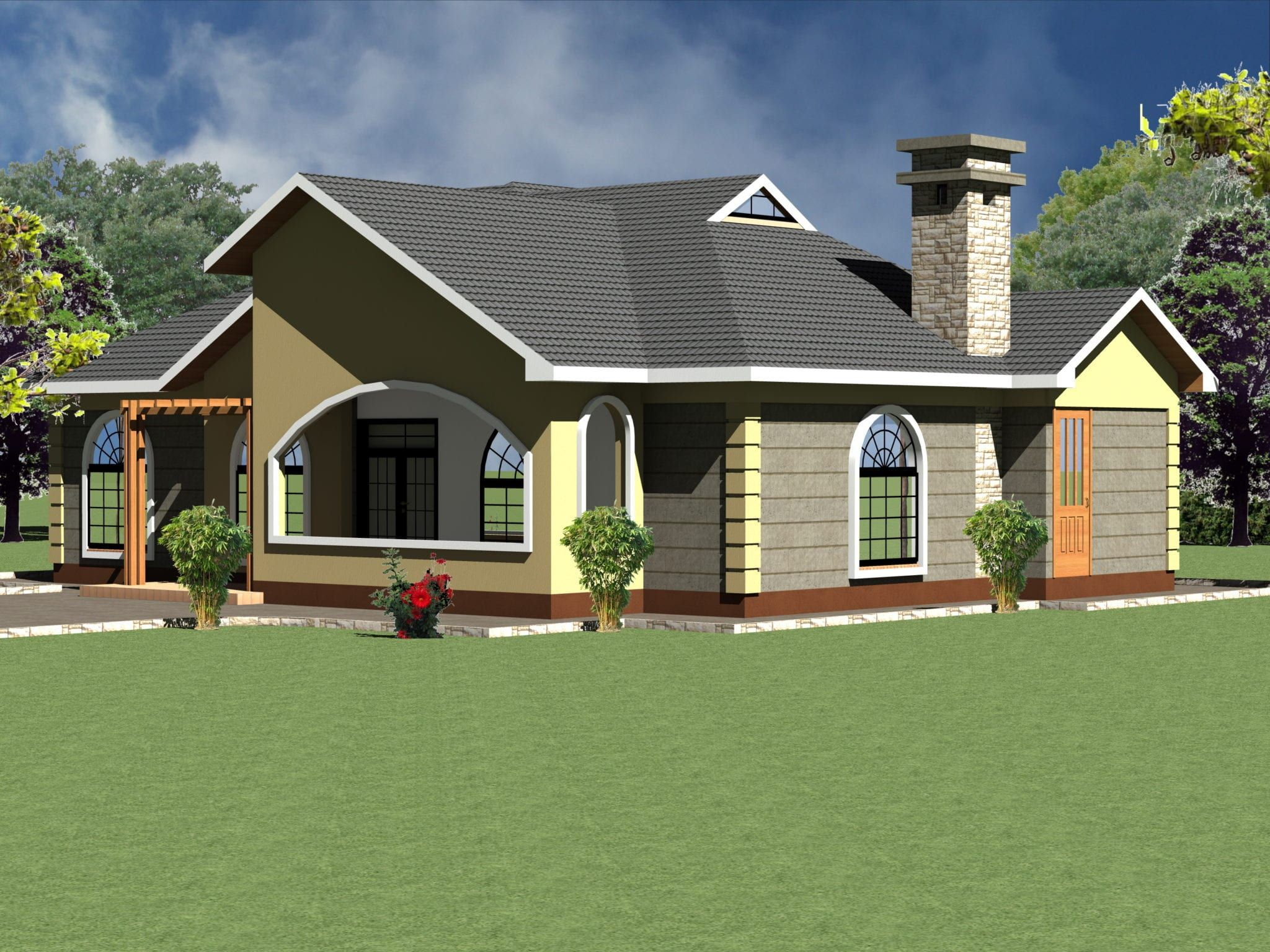 Four Bedroom House For Sale In 2020 Modern Bungalow House Plans Bungalow House Plans Four Bedroom House Plans