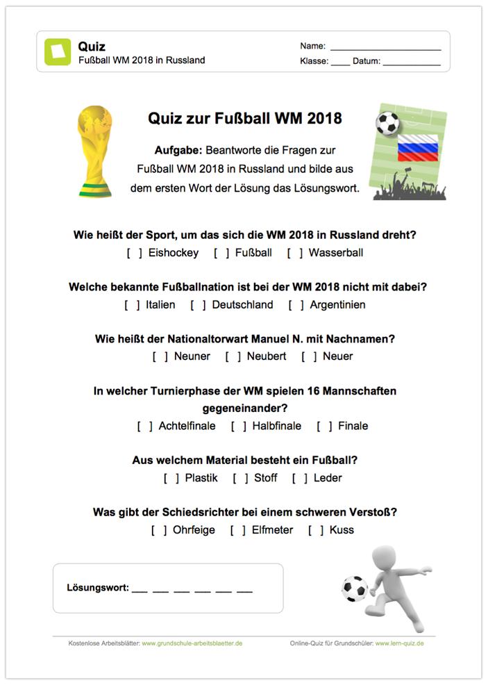 Ein kostenloses Arbeitsblatt zur Fußball Weltmeisterschaft 2018 in ...