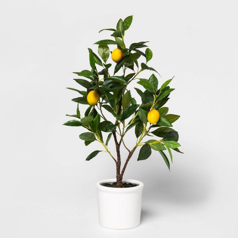 "25"" X 7"" Artificial Lemon Tree In Pot Yellow"