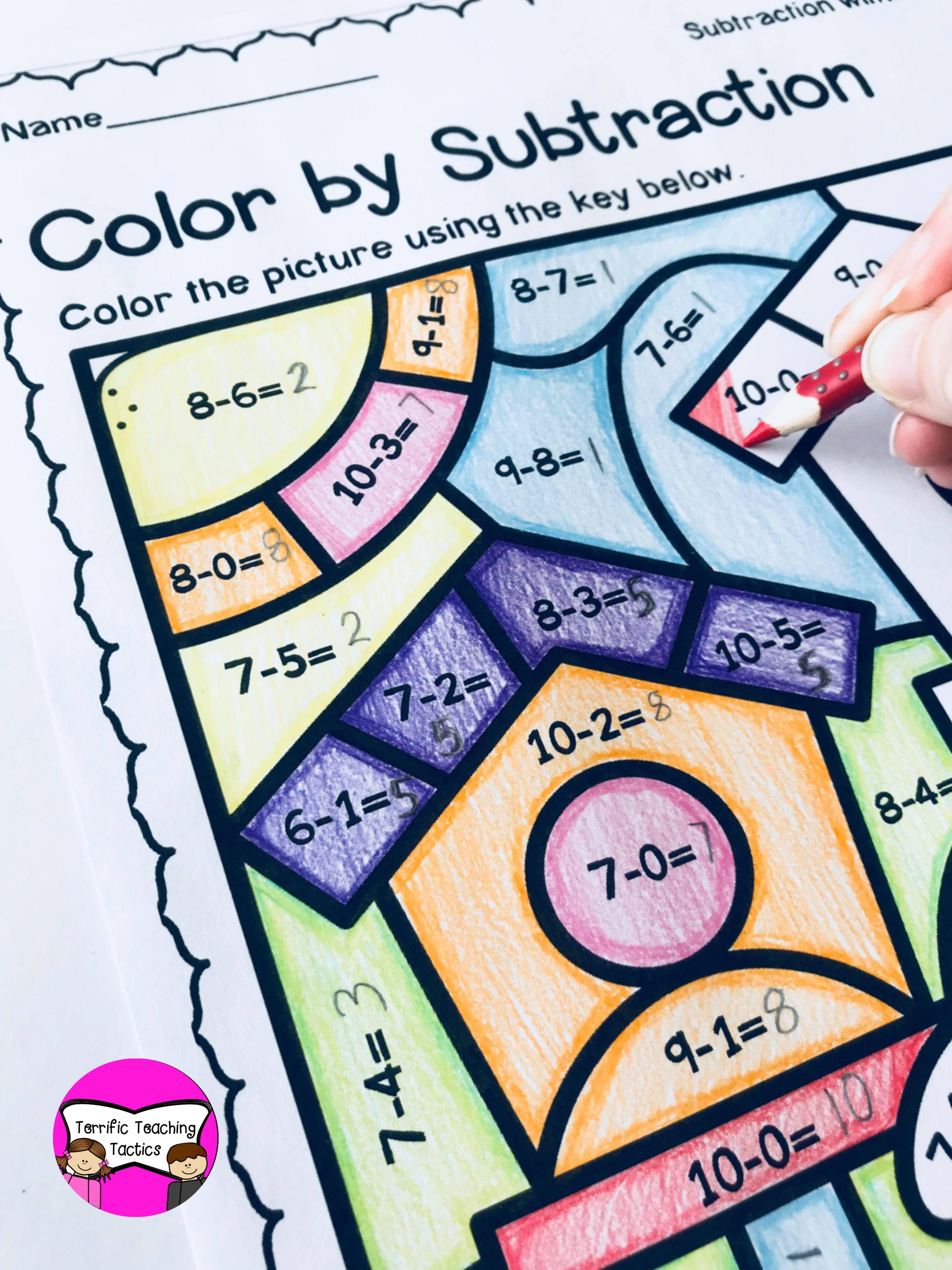 Spring Color By Subtraction Worksheet Freebie In