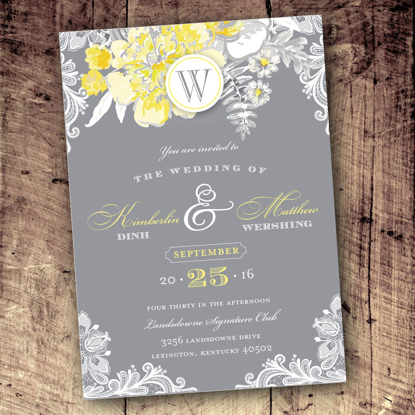 Yellow Gray  White Floral Lace Wedding Invitation Design By
