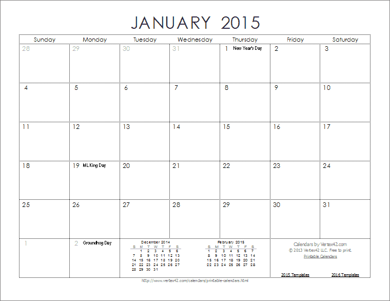 2015-Calendar-Template-Ink-Saver.Png (760×586) | Sayings