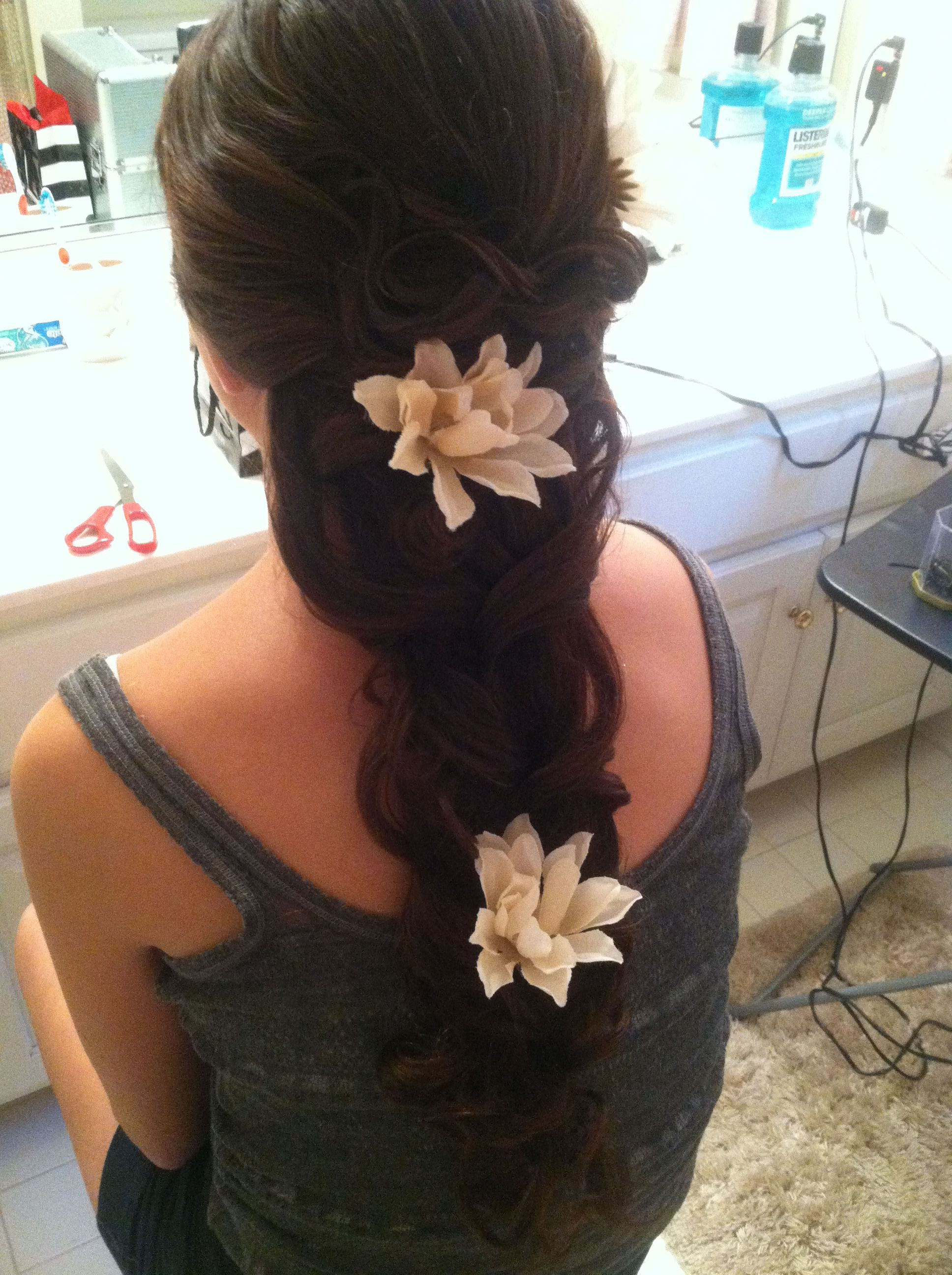 Homecoming hair with flowers bridal hair pinterest