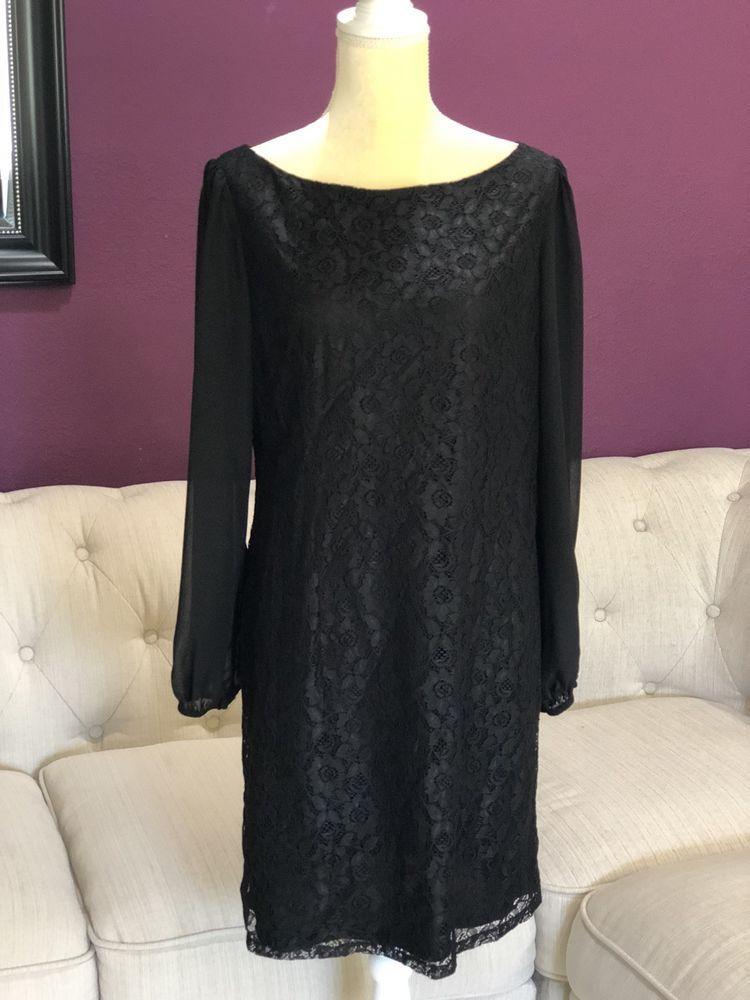 64685f278af Eliza J Black Floral Lace Chiffon Sheer Long Sleeve Dress in Size 10 ...