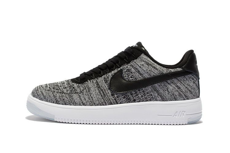 Nike Air Force 1 Flyknit Low Gray Black Runing Shoes #Nike #RunningCrossTraining