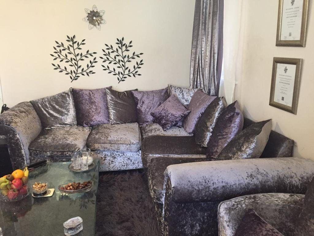 New Crushed Velvet Silver And Purple Big Sofa And Cuddle Chair Velvet Living Room Furniture Velvet Living Room Big Sofas