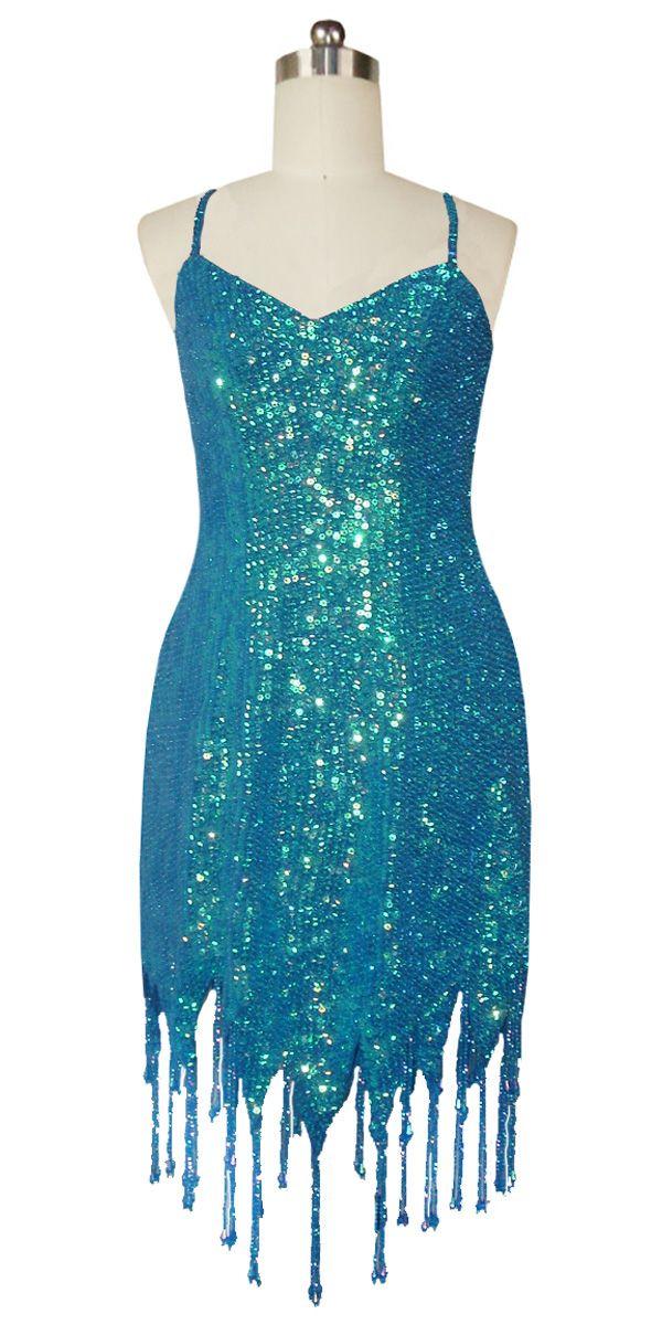 6d9b07b9e49 Short Handmade 8mm Cupped Sequin Dress in Iridescent Blue with Jagged  Beaded Hemline.
