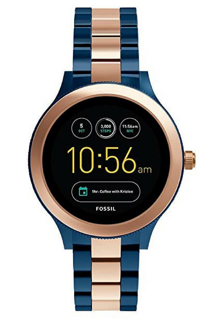 Fossil Q Women S Gen 3 Venture Two Tone Stainless Steel Smartwatch Rose Gold Blue Beautiful Women S Womens Watches Smart Watch Interchangeable Watch Bands