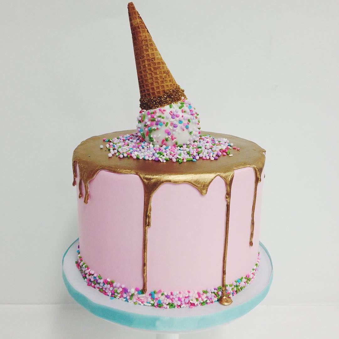 Love This Gold Drip Cake With A Cute Sprinkled Ice Cream Cone On Top