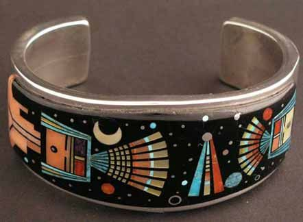 Cuff | Ervin Tsosie (Navajo). Sterling silver inlay bracelet ~ Wonderful design and inlay work on sterling silver by this young Navajo artist: turquoise, onyx, coral, sugillite and mother of pearl.