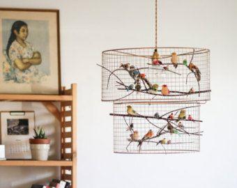 Copper double birdcage pendant light chandelier bird cage lamp copper double birdcage pendant light chandelier aloadofball Choice Image
