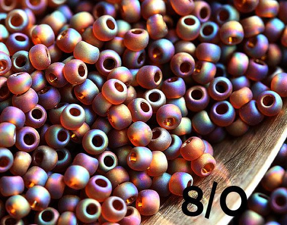 Seed beads, TOHO, size 8/0, Transparent Rainbow Frosted Smokey Topaz, N 177F, round - 10g - S680 by MayaHoney on Etsy