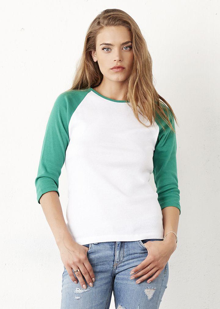 c99a61f138 Baby Rib 3/4 Sleeve Contrast Raglan T-Shirt | The Fashion Quarter ...