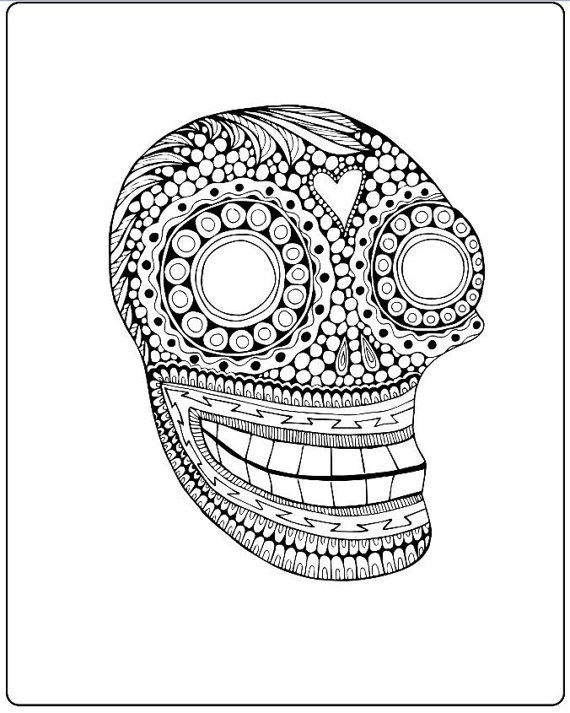 Sugar Skull Coloring Page Mexican Day of the Dead