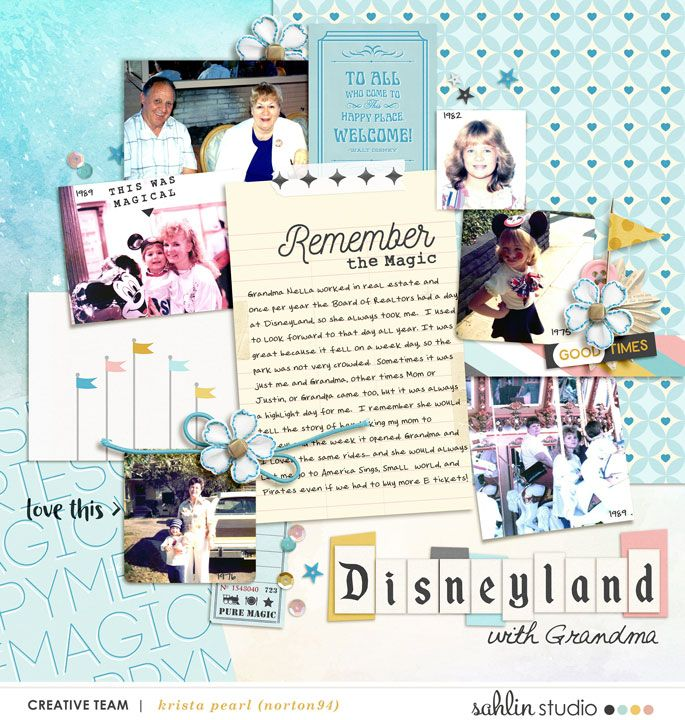 Vintage look at Past Disney vacations digital scrapbooking layout using Project Mouse: Beginnings Kit and Journal Cards by Sahlin Studio and Britt-ish Designs