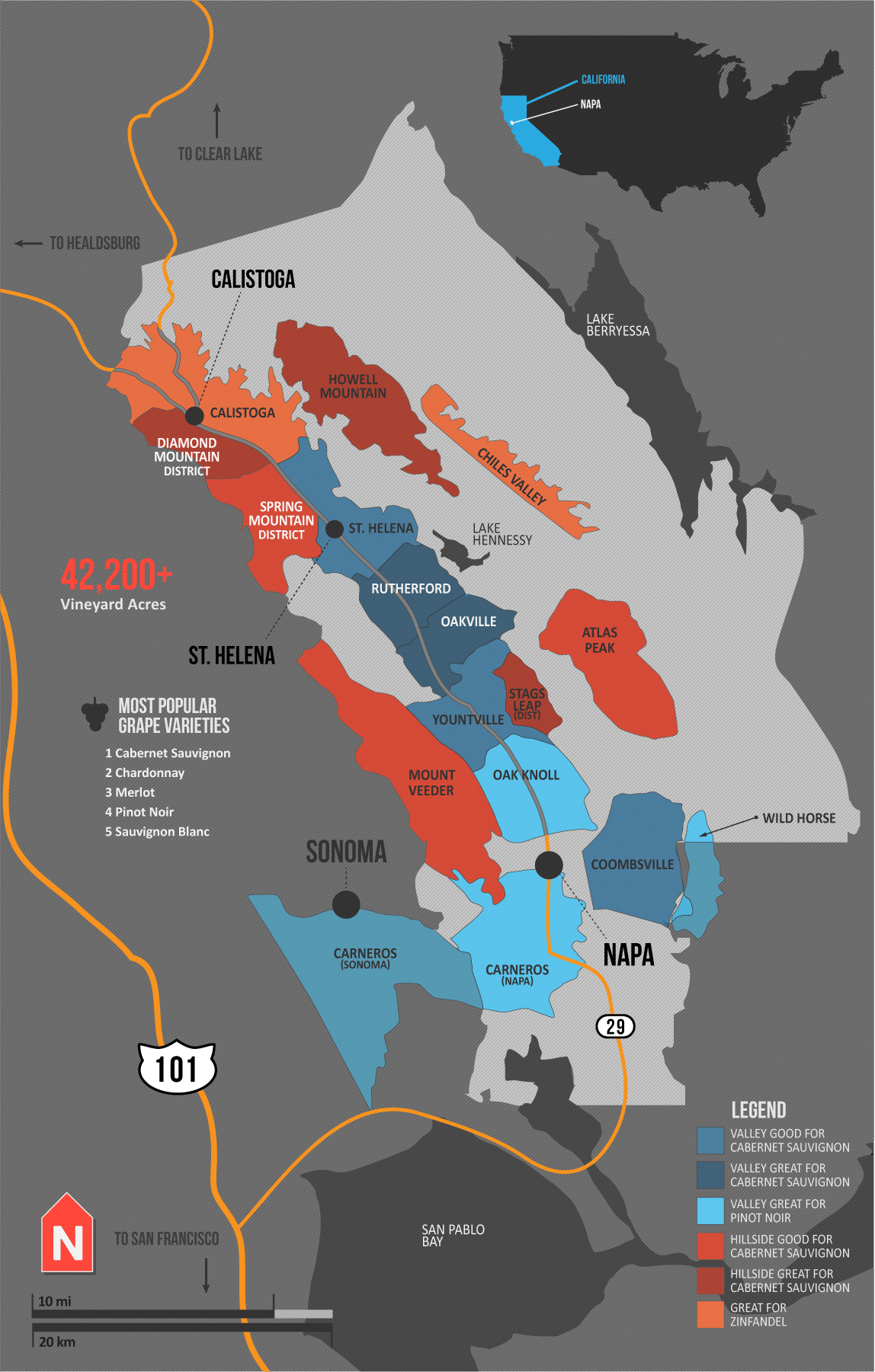 A Simple Guide To Napa Wine Map Napa Valley Map Wine