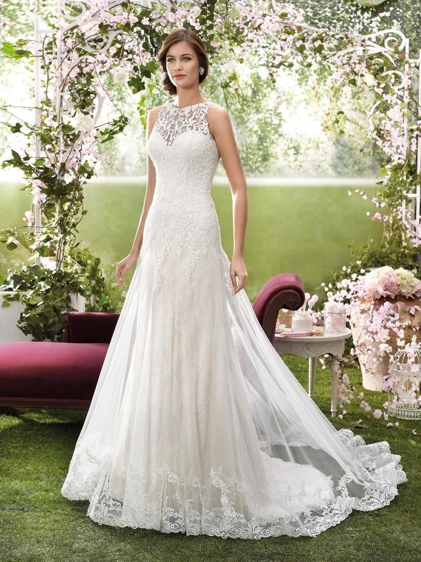 cheap 2016 designer wedding dresses by novia dart high neck appliqued tulle and lace bridal gowns with lace back and chapel train as low as 19392