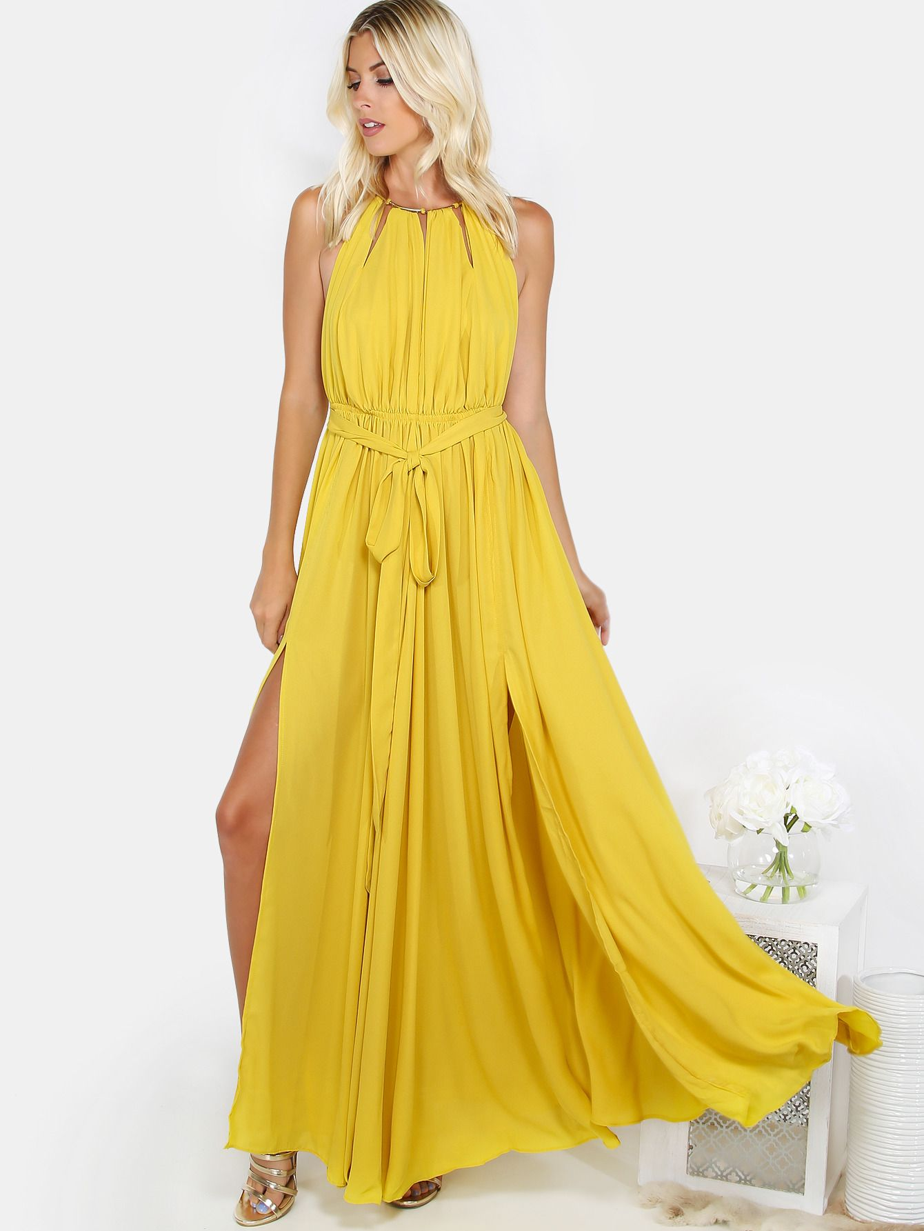 """You'll be a modern princess this summer in the Gathered Slit Maxi Dress! Features gathered elasticized waist with belt tie, cut out slits, gold neckline trim with adjustbable back tie and high skirt slits. Measures 55.1"""" in. from top to bottom hem. Complete your charming look with a messy bun and lace-up sandals! #summer #dresses #maxi #MakeMeChic #MMC #style #fashion #newarrivals #summer16"""