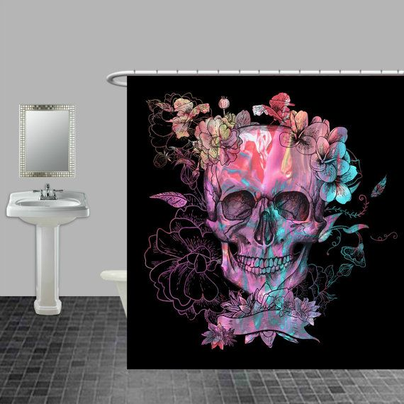 Skull Shower Curtain Black Purple Swirl Floral By Folkandfunky