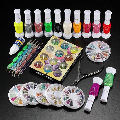 Nail Art Decoration Kit Polish Glue Rhinestones Clipper Dotting Tool You Can Get