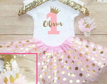 490facba5bf89 First Birthday Tutu Bodysuit Outfit / Baby Girl Clothes 1 Year Old Outfit  One Birthday Set 1st Birthday Girl Outfit Bow Crown Princess 067