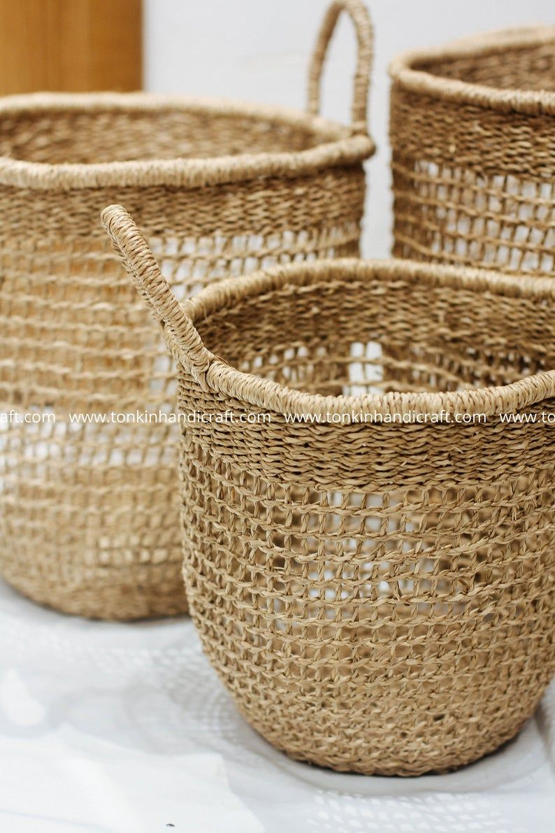 Pin On Sea Grass Natural Weave Baskets Handicraft Vietnam