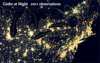 Now In Its Th Year Globe At Night Is A Worldwide Starcounting - Satellite map of se us at night