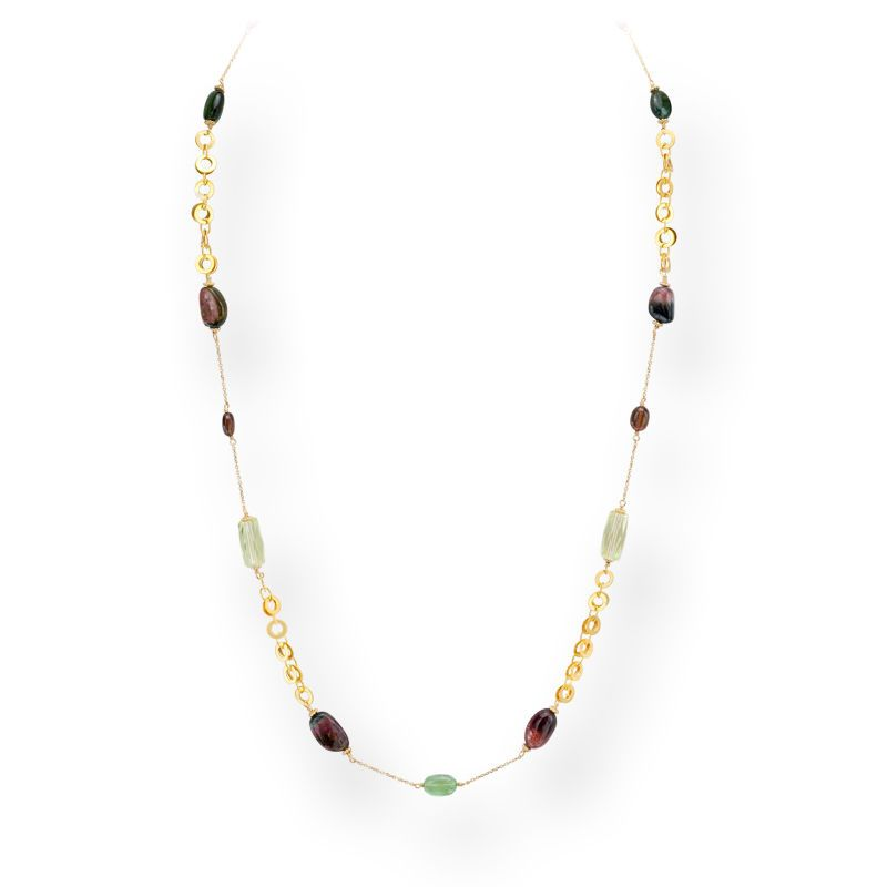 TOURMALINE GOLD CHAIN NECKLACE STRAND 14K YELLOW GOLD 26' INCH