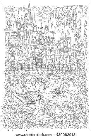 Fantasy Landscape Fairy Tale Castle Fantastic Water Plant Lotus